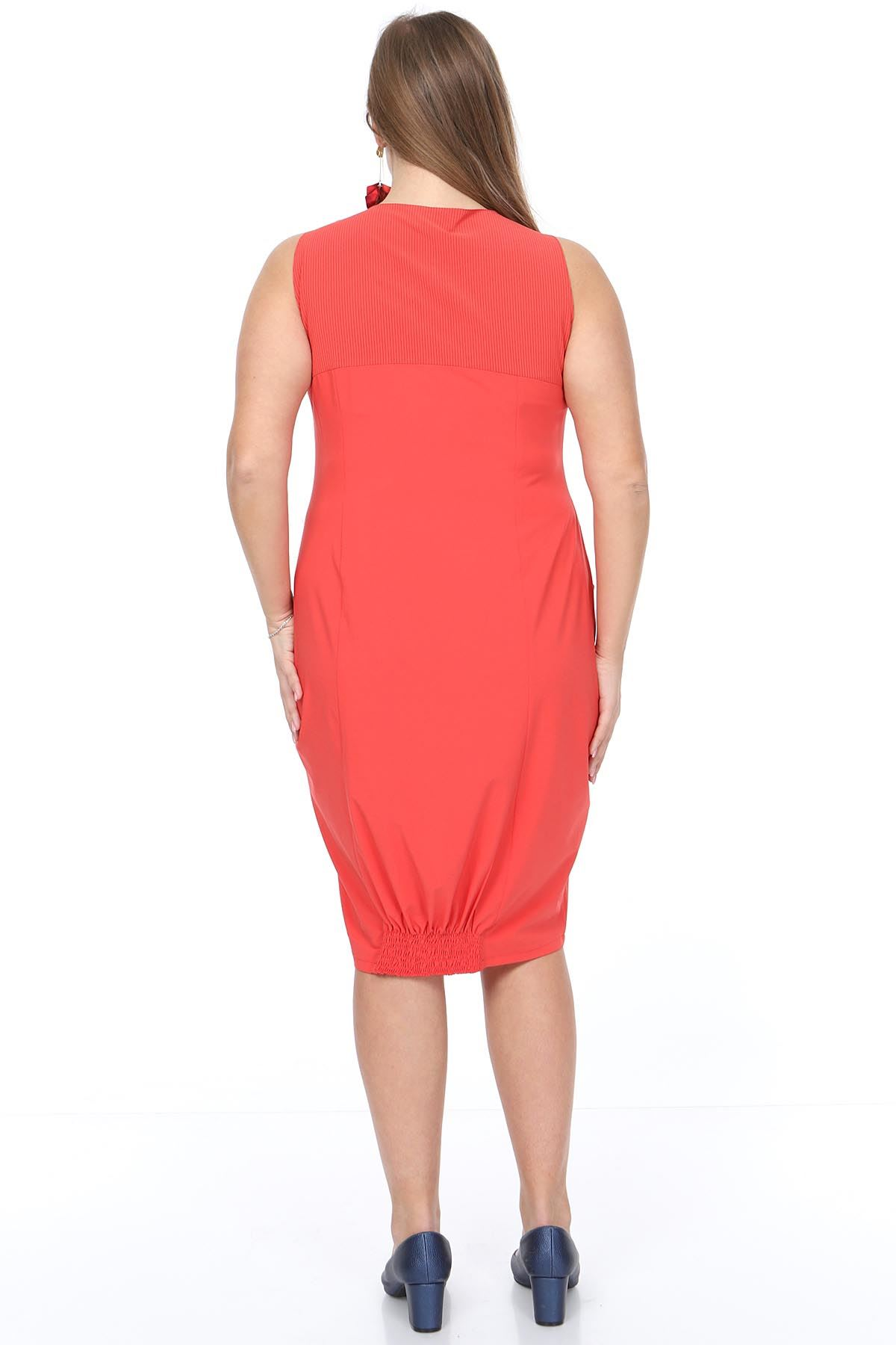 Askılı Baskılı Büyük Beden Elbise 20Y-0913