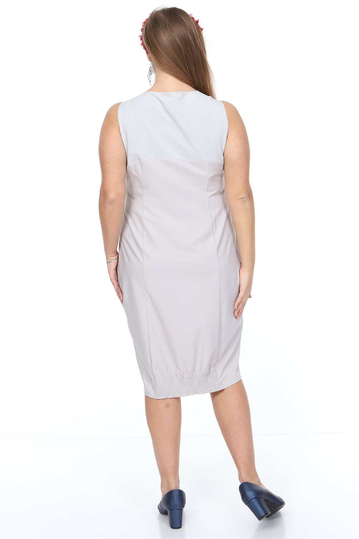Askılı Gri Büyük Beden Elbise 20Y-0914