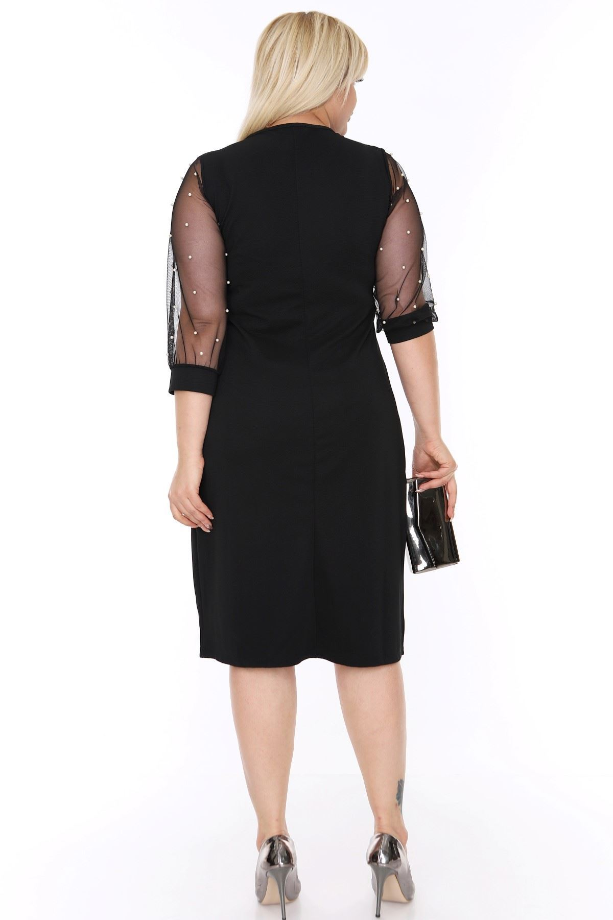 Kolları İncili Siyah Elbise 6A-69341