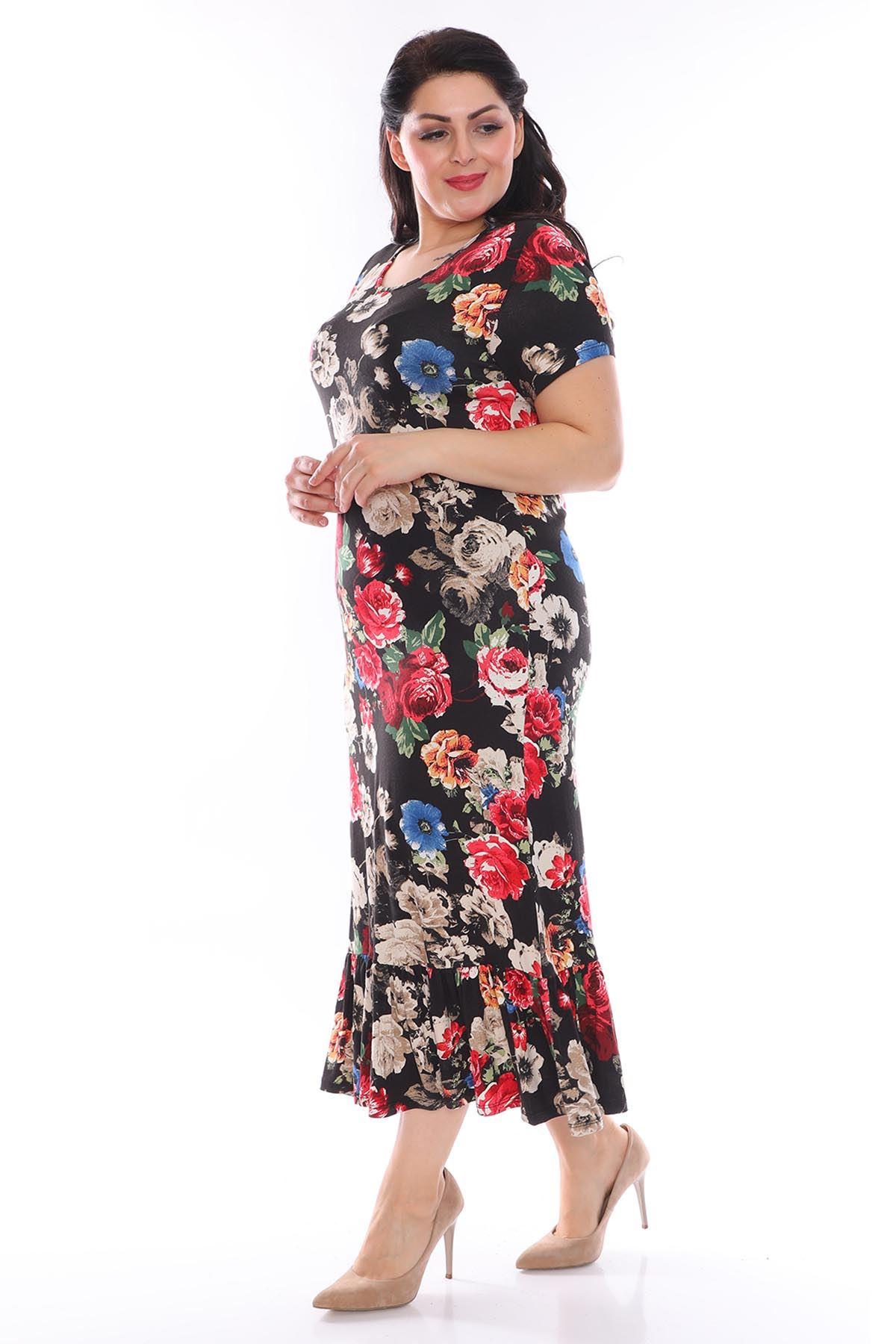 Siyah Desenli Büyük Beden Elbise 27D-0952