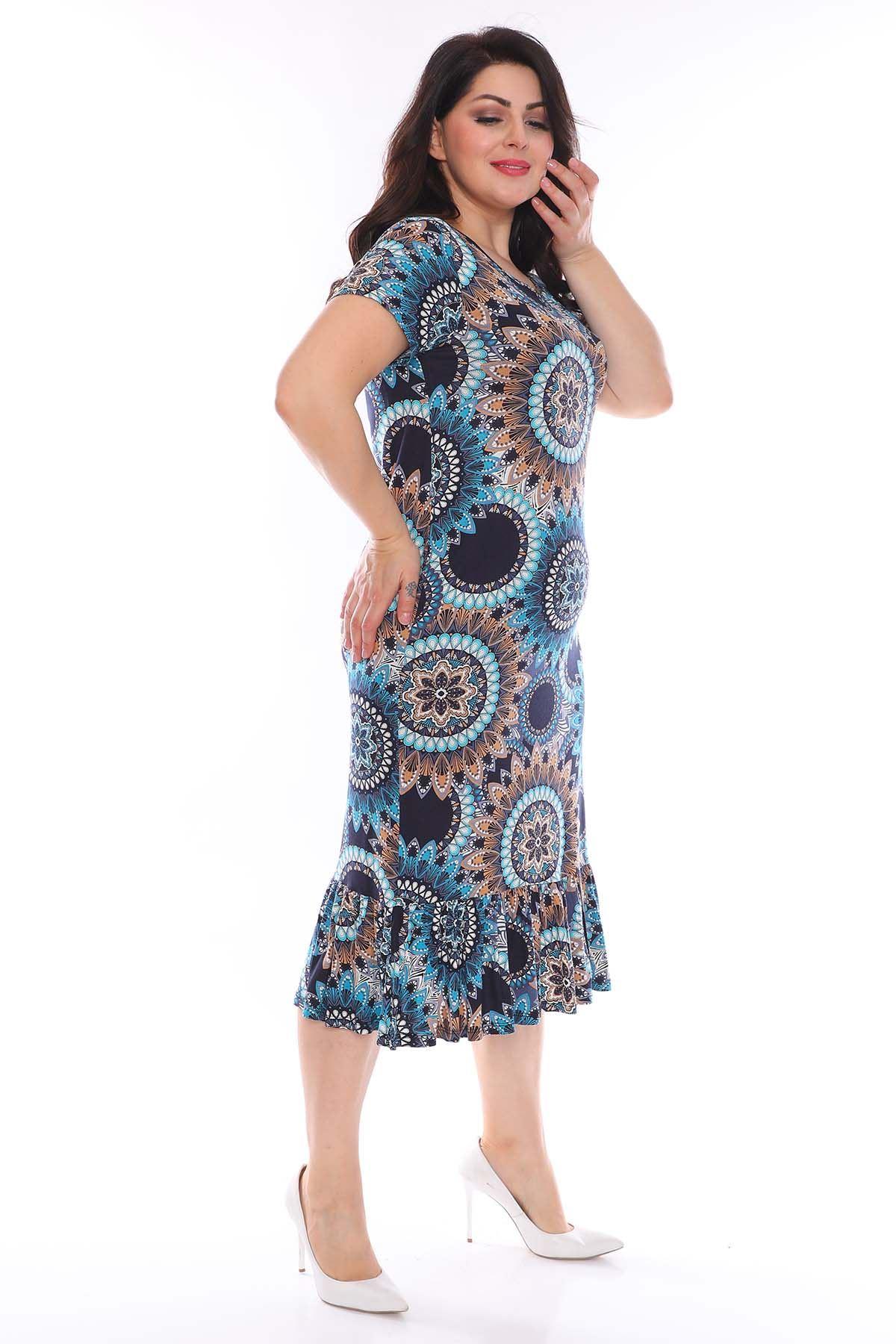 Lacivert Desenli Büyük Beden Elbise 27B-0954