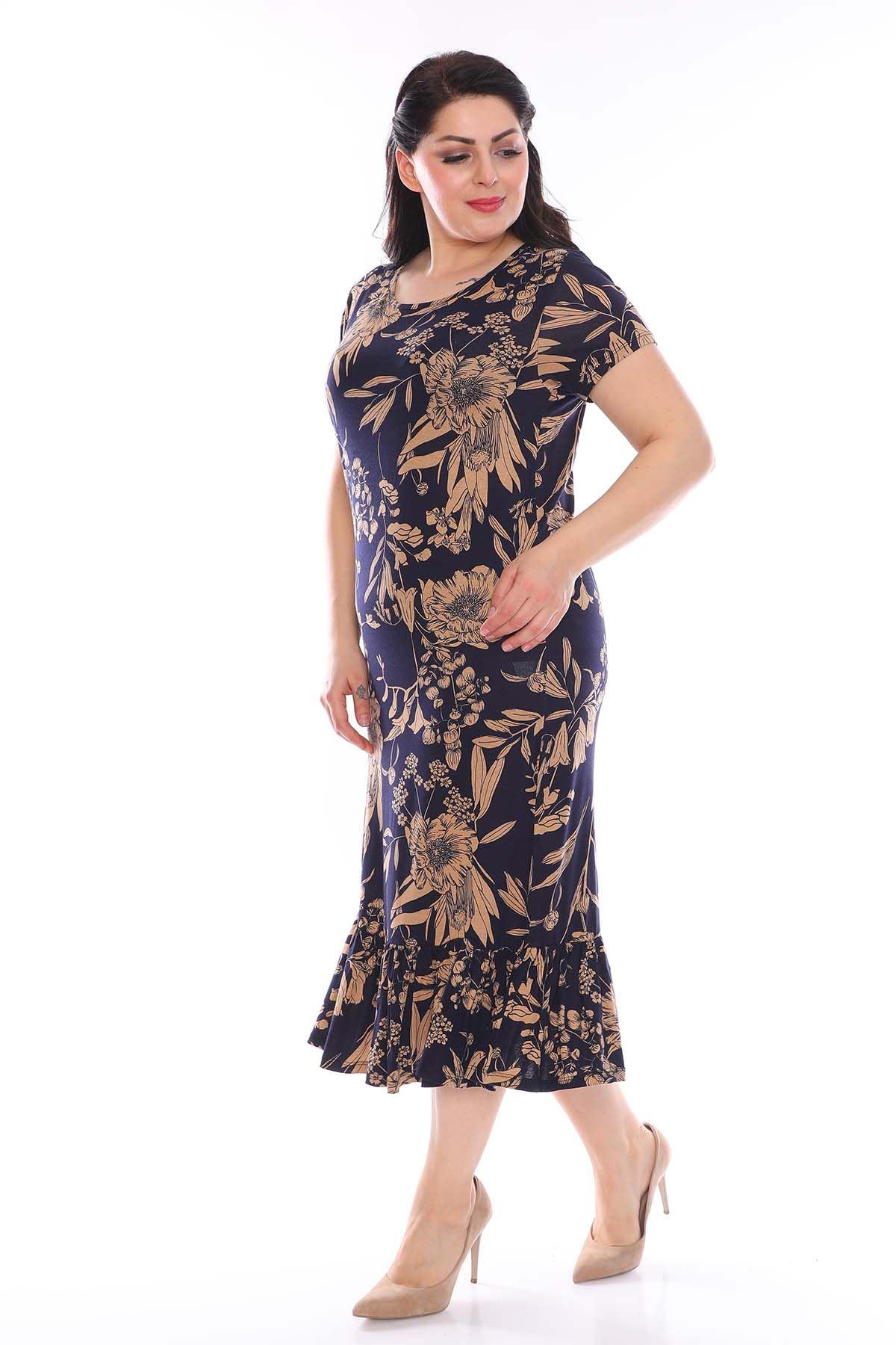 Desenli Eteği Fırfırlı Büyük Beden Elbise 23C-0951