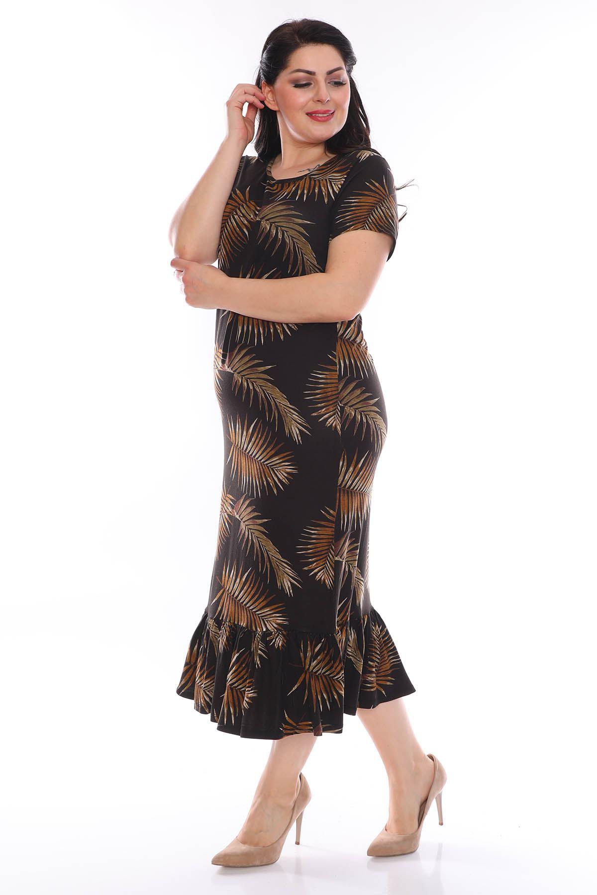 Palmiye Desenli Büyük Beden Elbise 3C-0947