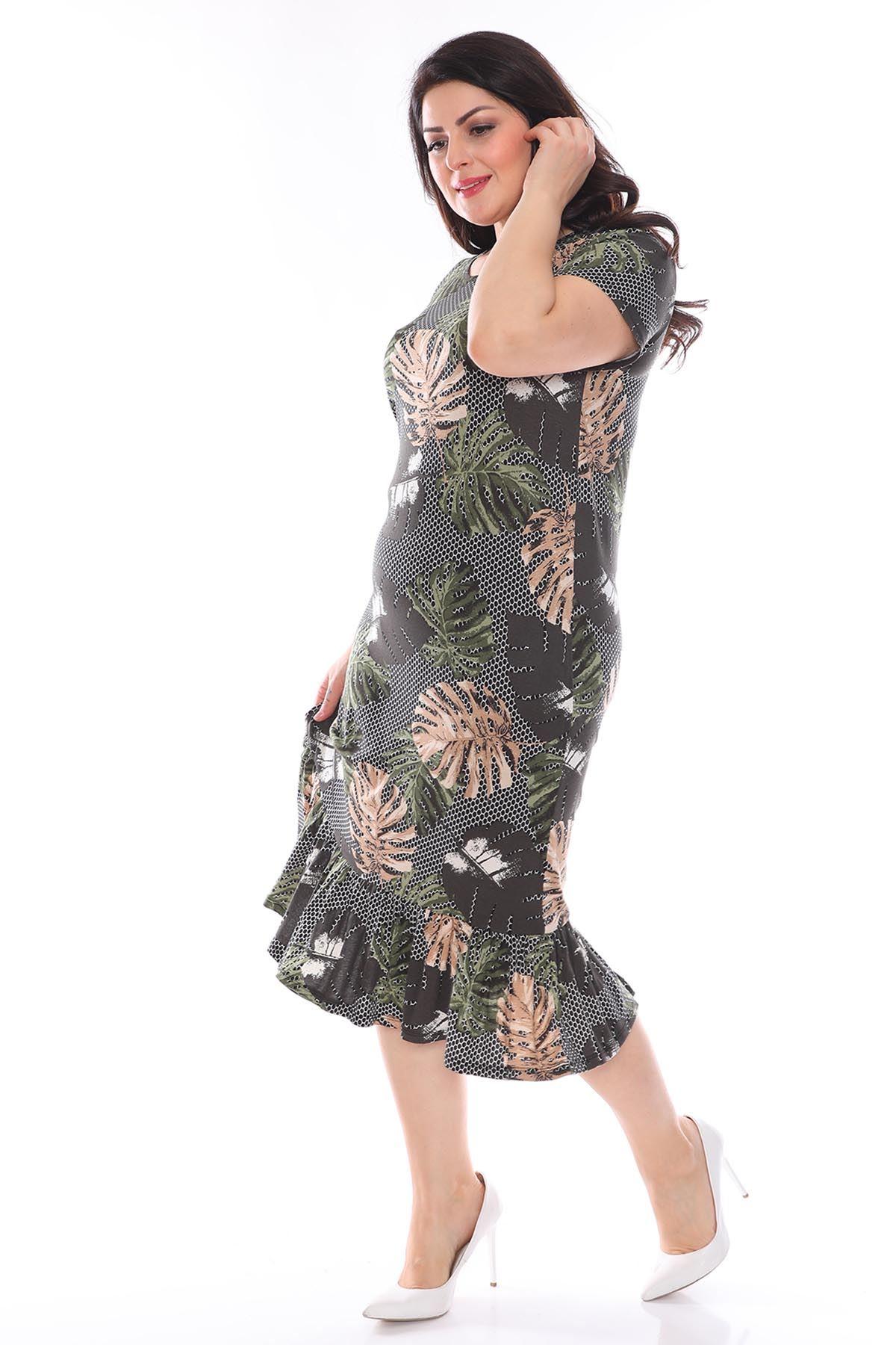 Desenli Esnek Büyük Beden Elbise 29E-0962