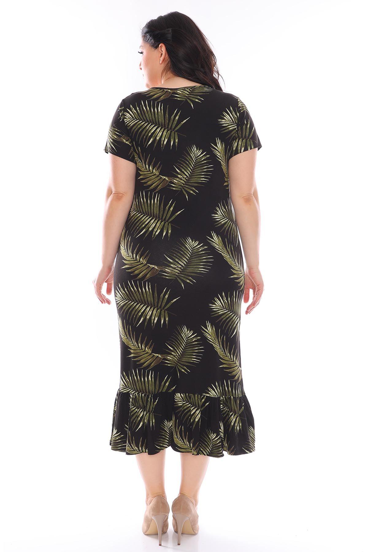 Palmiye Yapraklı Büyük Beden Elbise 1D-0948