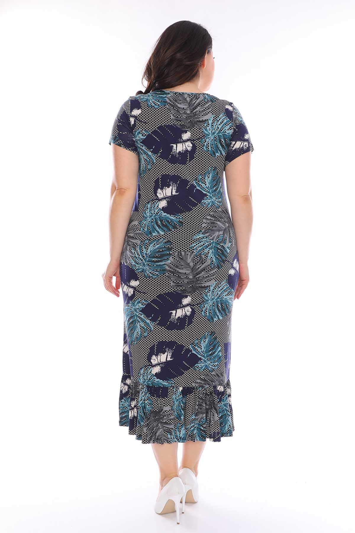 Petek Desenli Büyük Beden Elbise 29B-0958