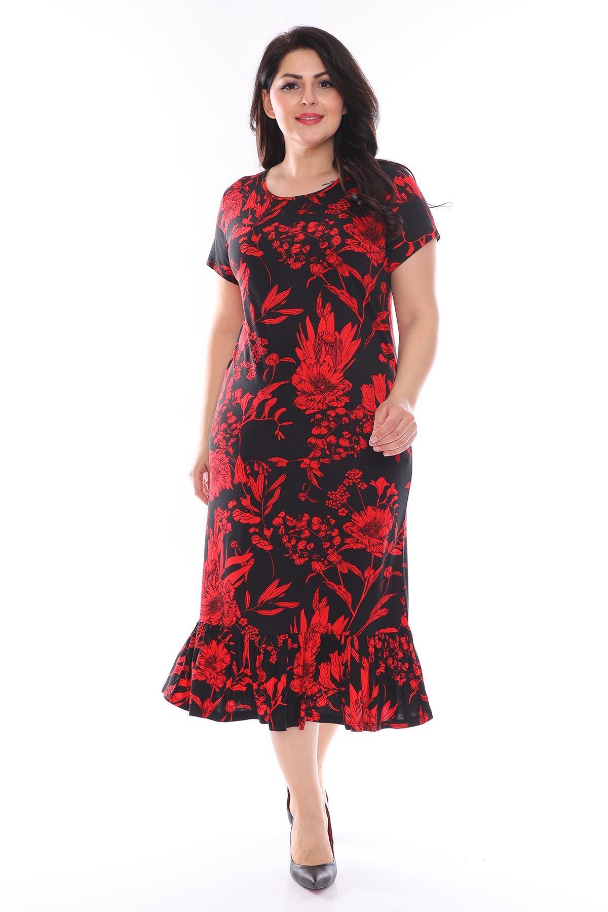 Kırmızı Desenli Büyük Beden Elbise 27C-0953