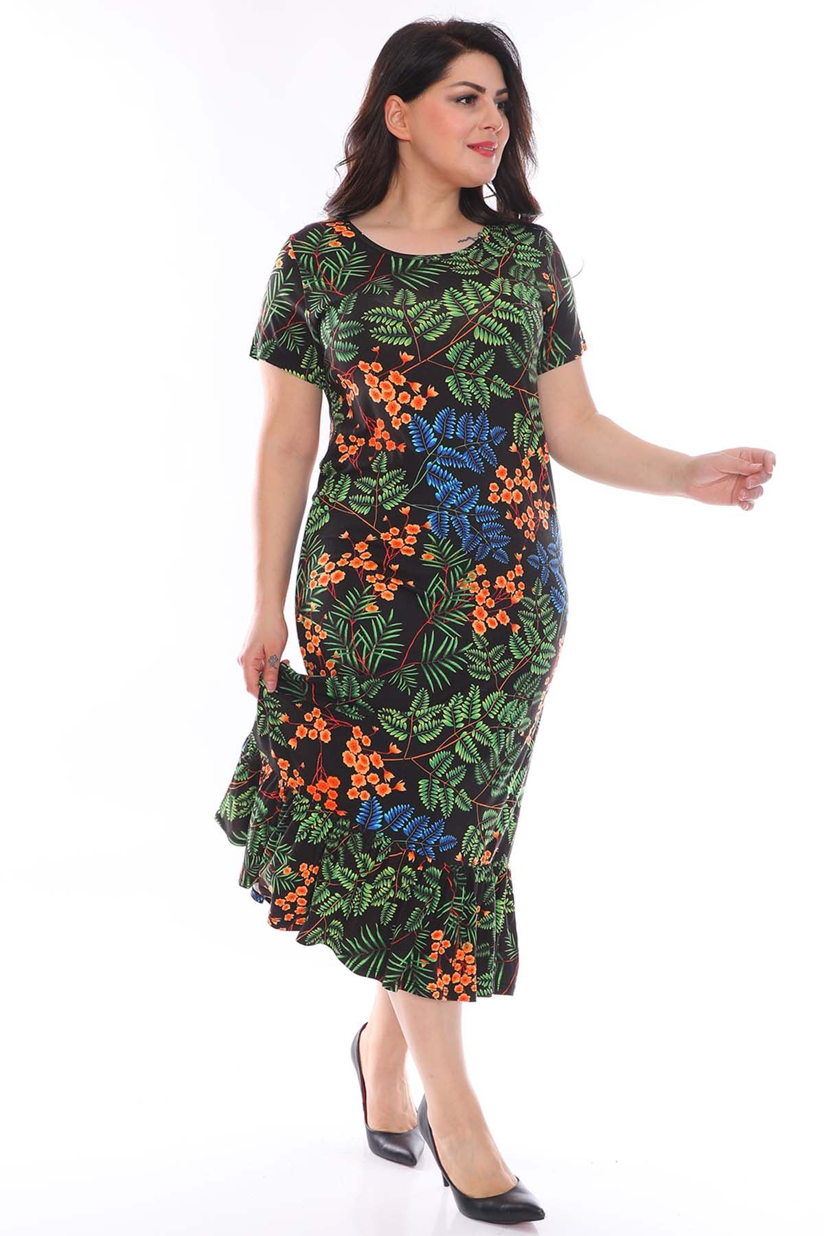 Yaprak Desenli Büyük Beden Elbise 29C-0960