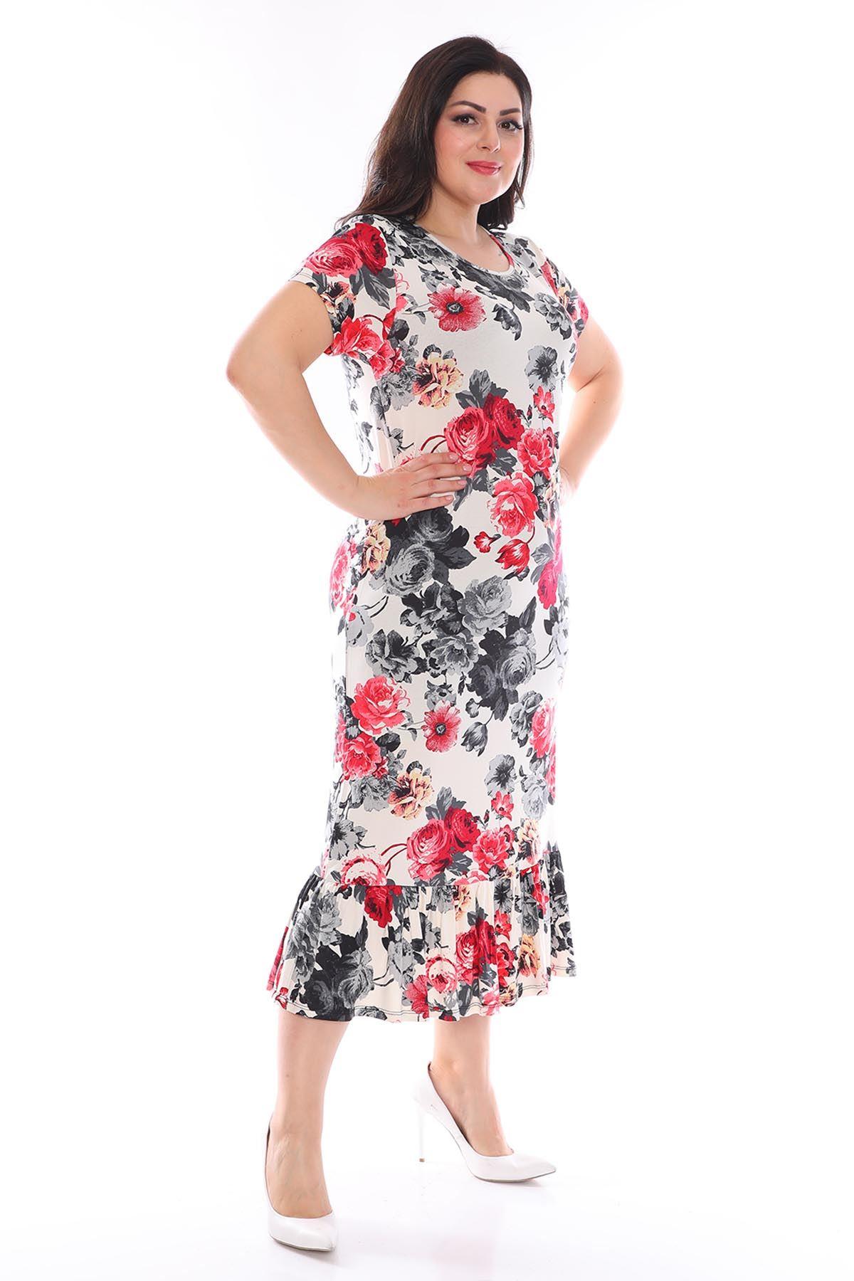 Çiçek Desenli Esnek Büyük Beden Elbise 24D-0950