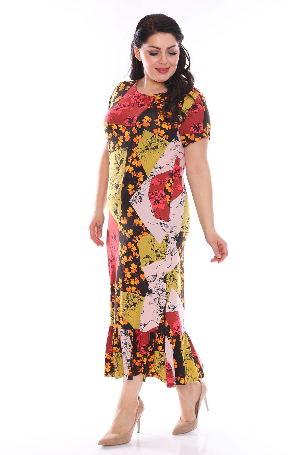 Çiçekli Desenli Esnek Büyük Beden Elbise 29A-0955