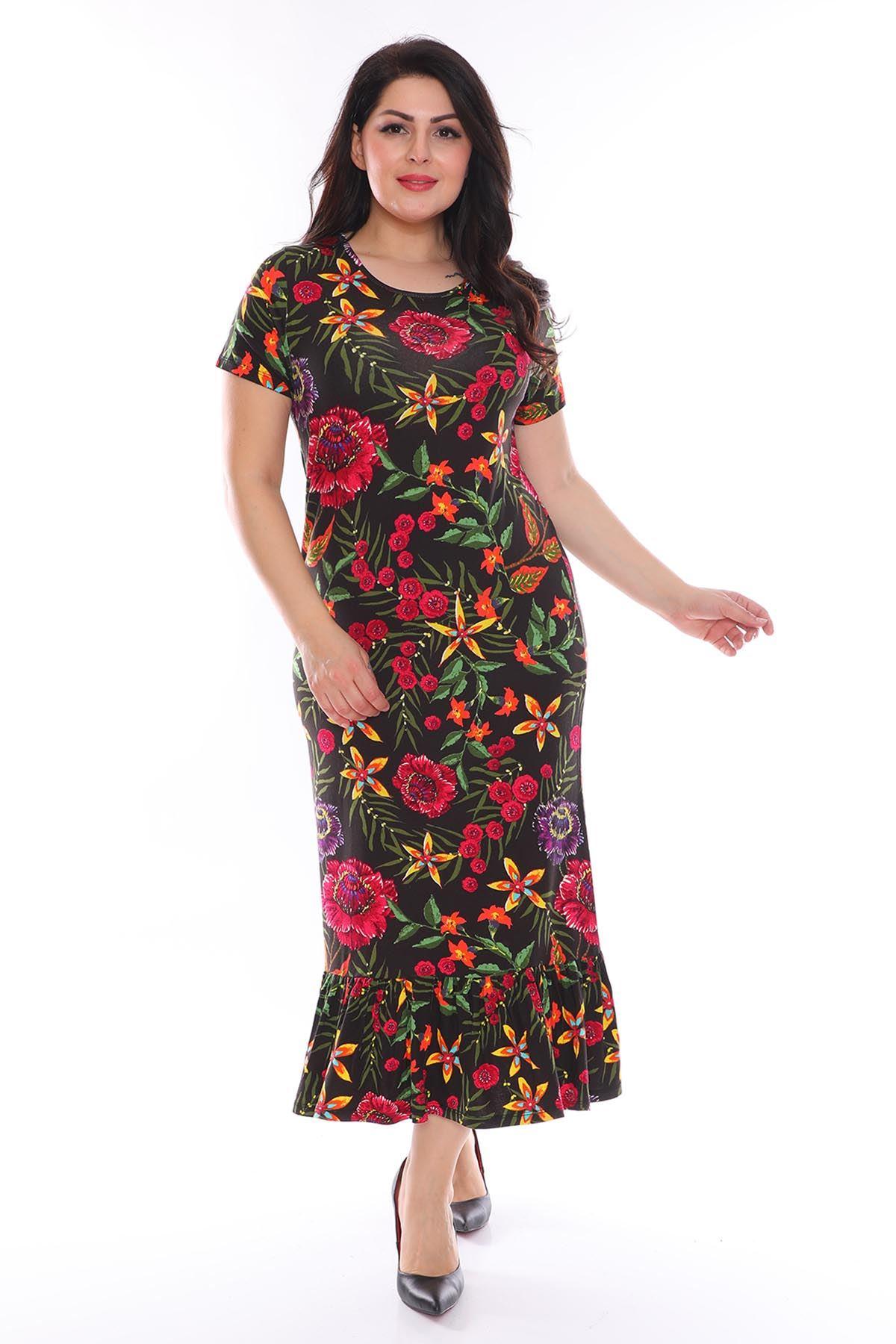 Kısakol Çiçekli Büyük Beden Elbise 29A-0956