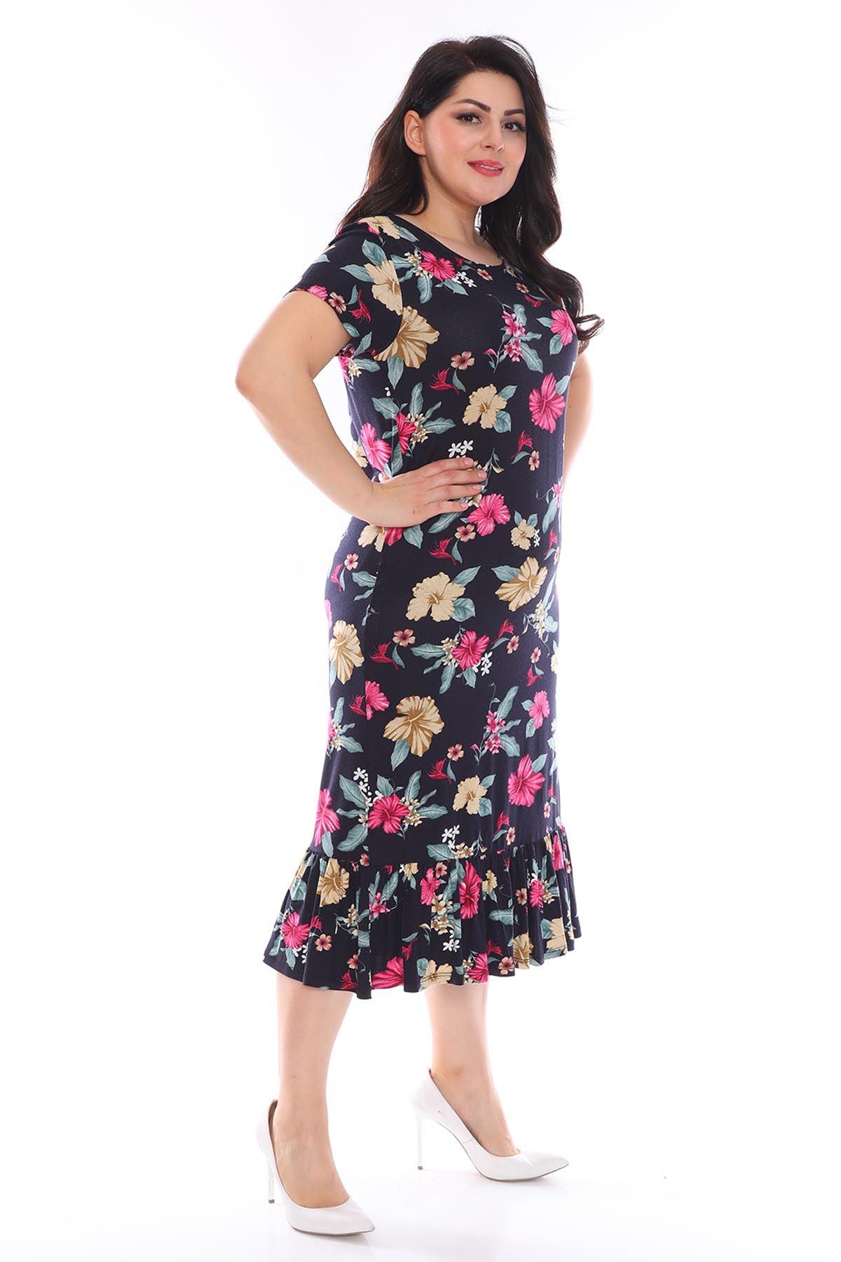 Lacivert Çiçekli Büyük Beden Elbise 29B-0957