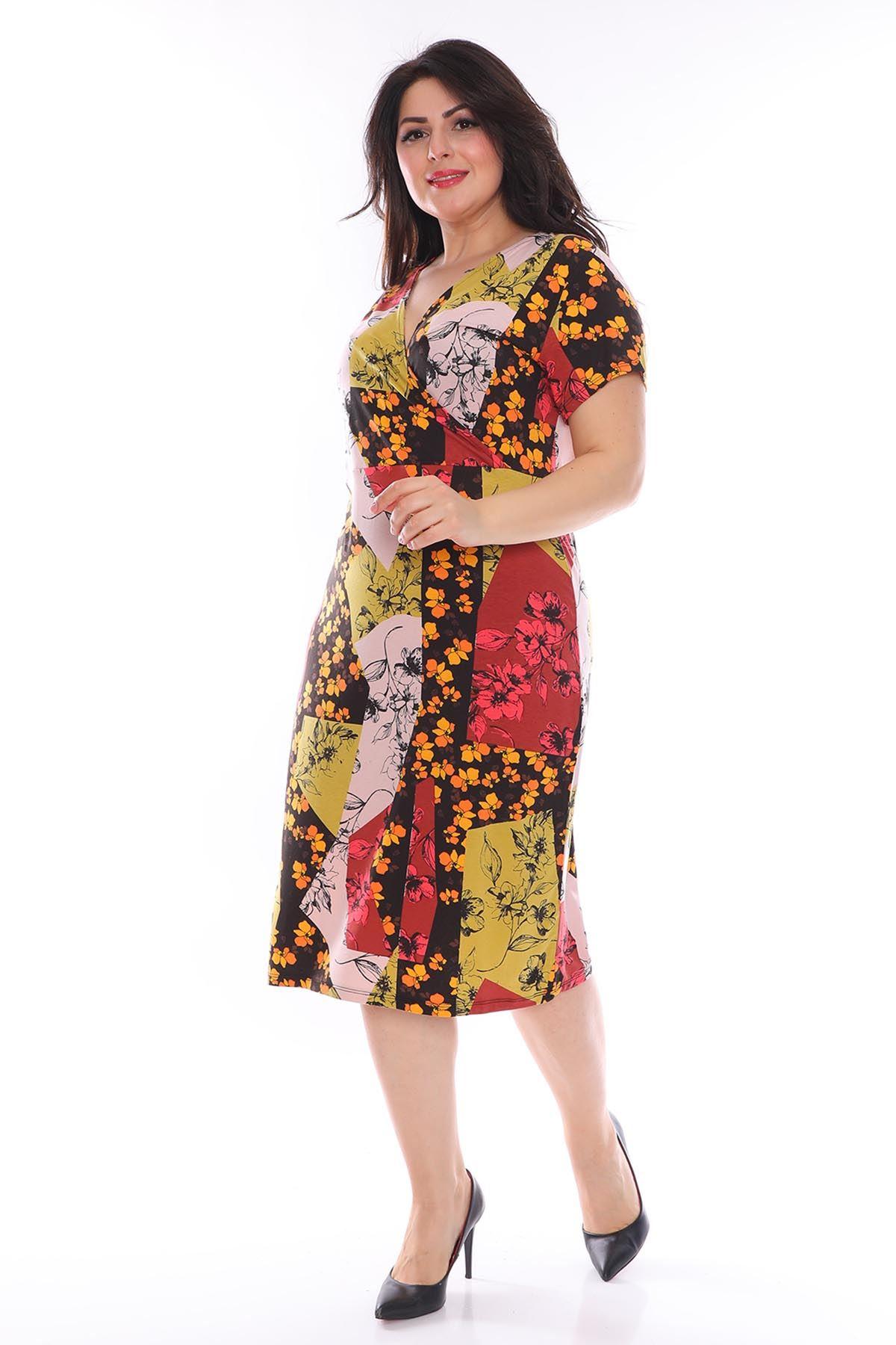 Kruvaze Yaka Desenli Büyük Beden Elbise 28C-0969