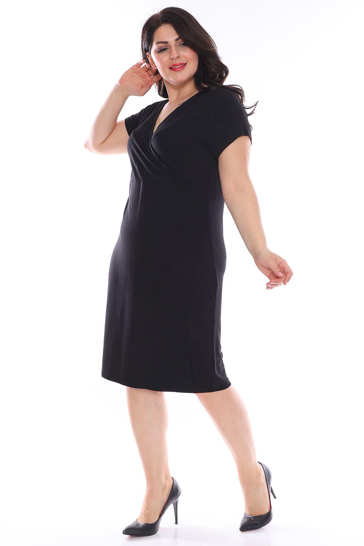Kruvaze Yaka Siyah Büyük Beden Elbise 2D-0970