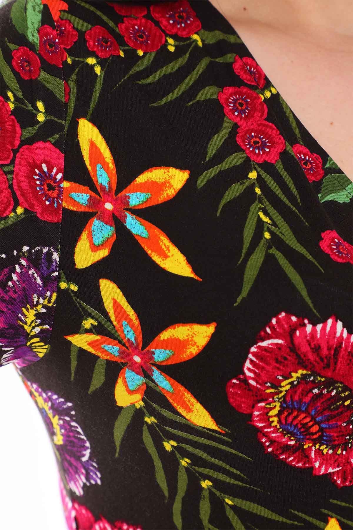 Kruvaze Yaka Çiçekli Büyük Beden Elbise 22D-0963