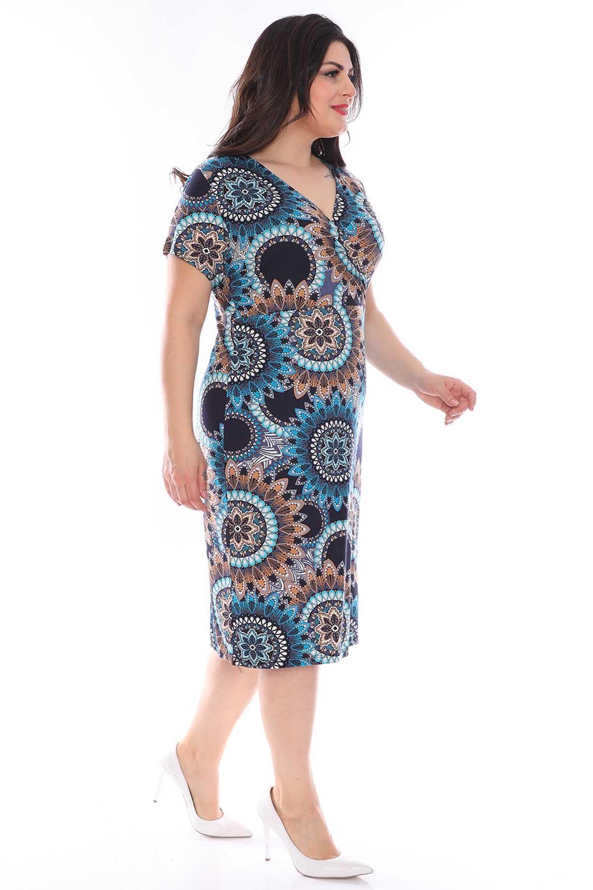 Kruvaze Yaka Desenli Büyük Beden Elbise 22B-0964
