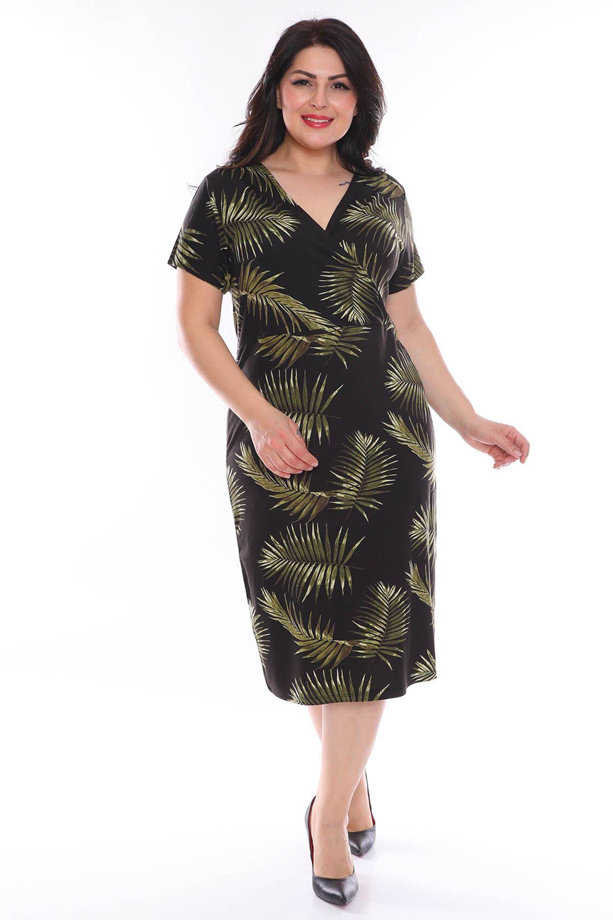 Palmiye Yaprağı Kruvaze Yaka Elbise 28B-0967
