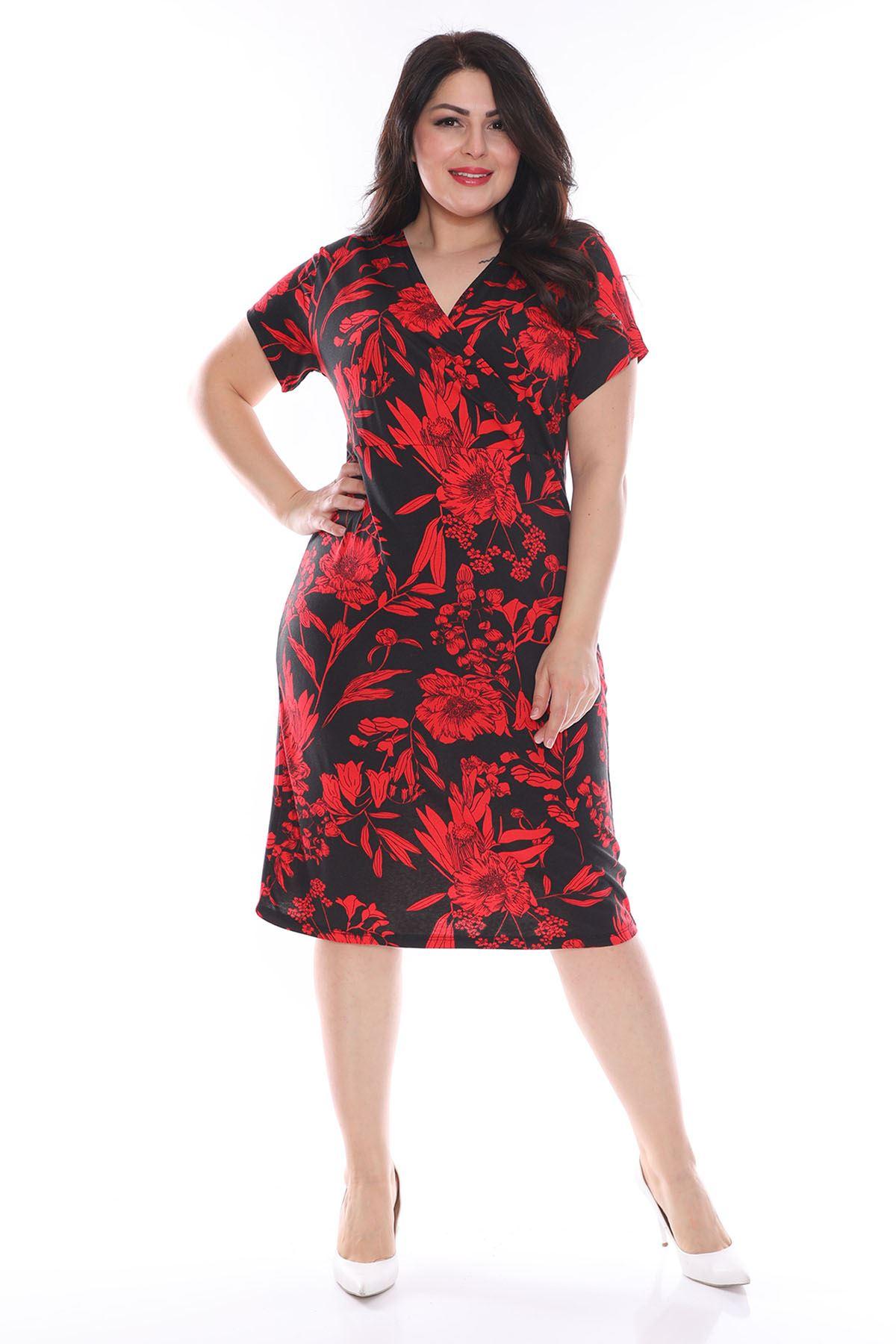 Kırmızı Desenli Kruvaze Yaka Büyük Beden Elbise 28C-0968
