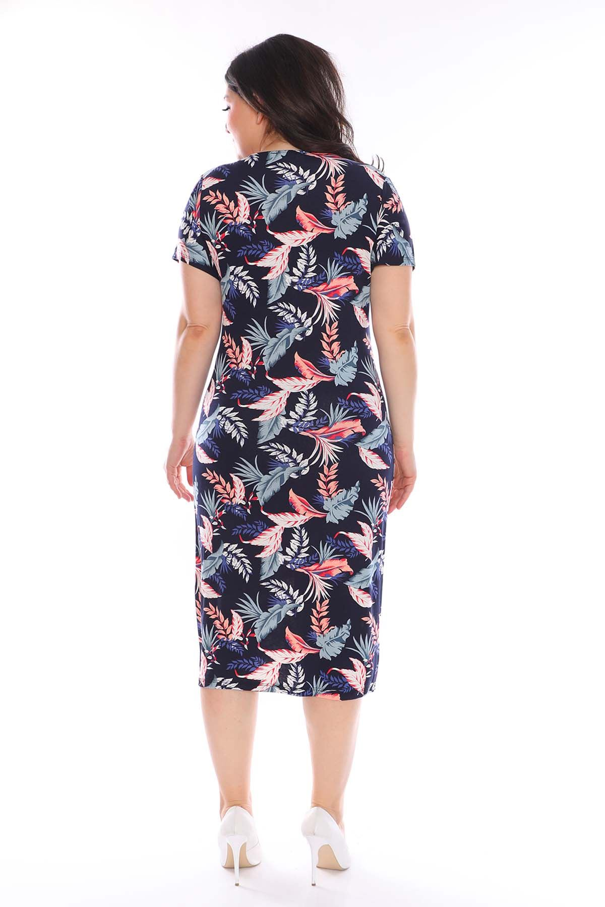 Lacivert Çiçek Desenli Kruvaze Elbise 22B-0972