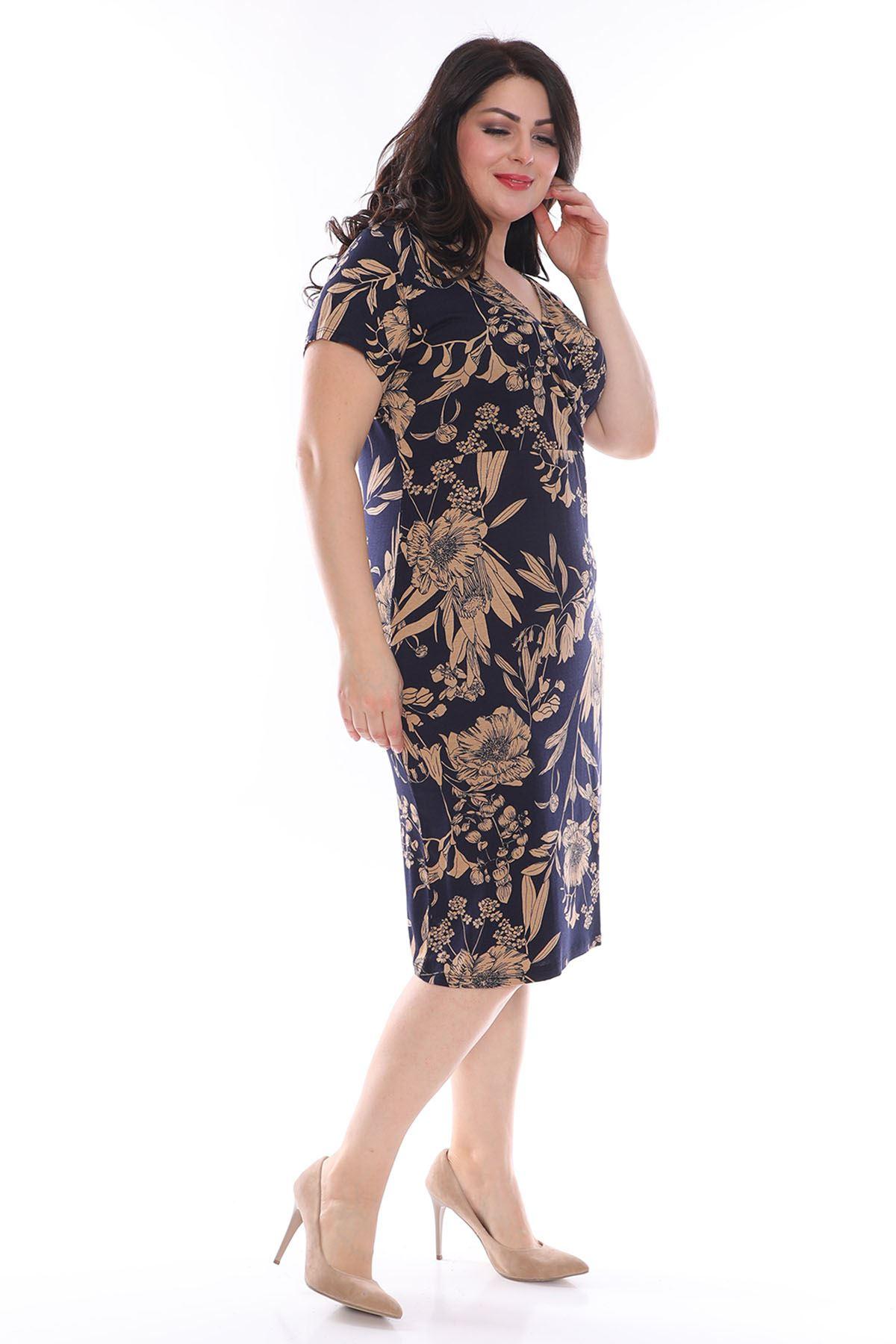 Desenli Kruvaze Yakalı Büyük Beden Elbise 16C-0971