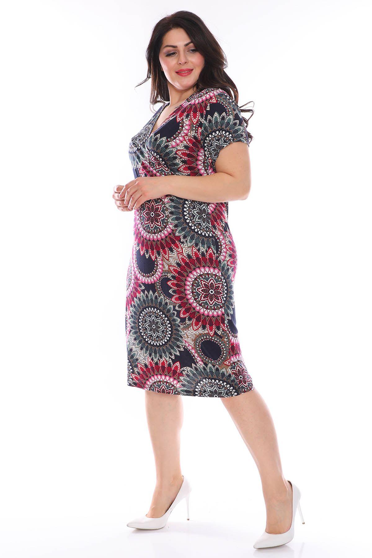 Desenli Kruvaze Esnek Büyük Beden Elbise 28B-0975