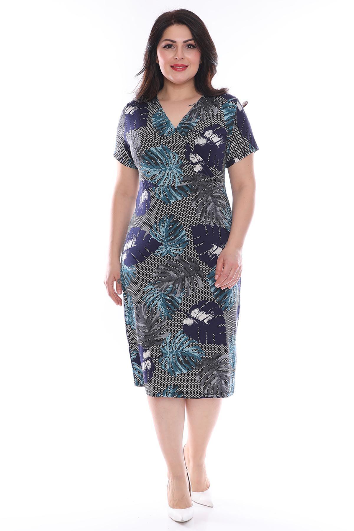 Petek Desenli Kruvaze Büyük Beden Elbise 23C-0976