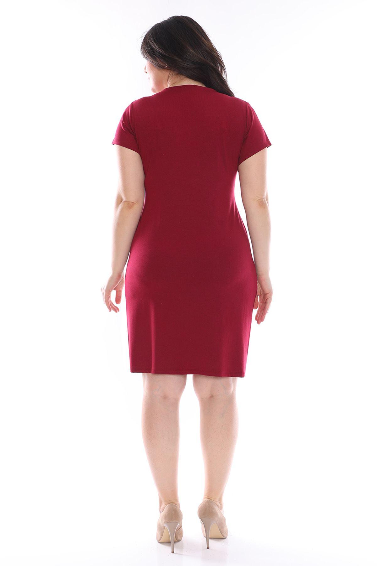 Bordo Kruvaze Büyük Beden Elbise 25B-0973