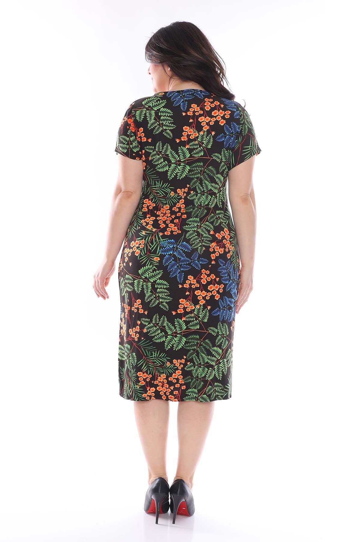 Yaprak Desenli Kruvaze Büyük Beden Elbise 25B-0974