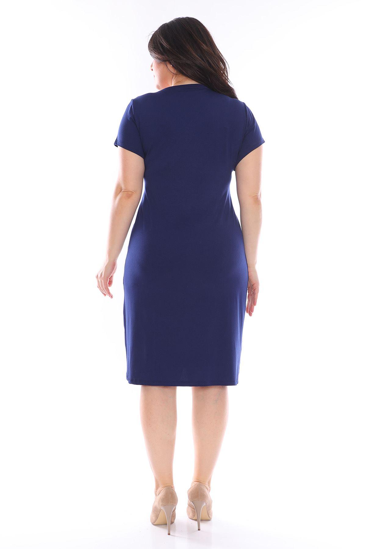 Lacivert Kruvaze Büyük Beden Elbise 25A-0965