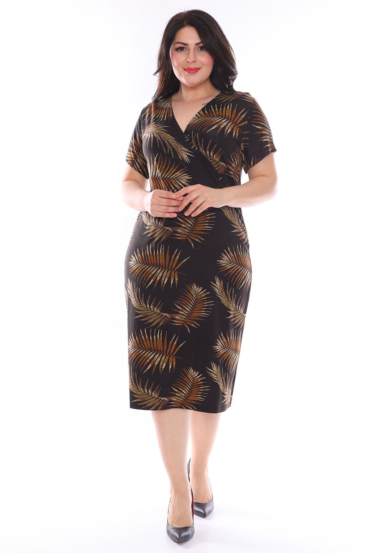Kruvaze Yaka Yaprak Desen Büyük Beden Elbise 2D-0978