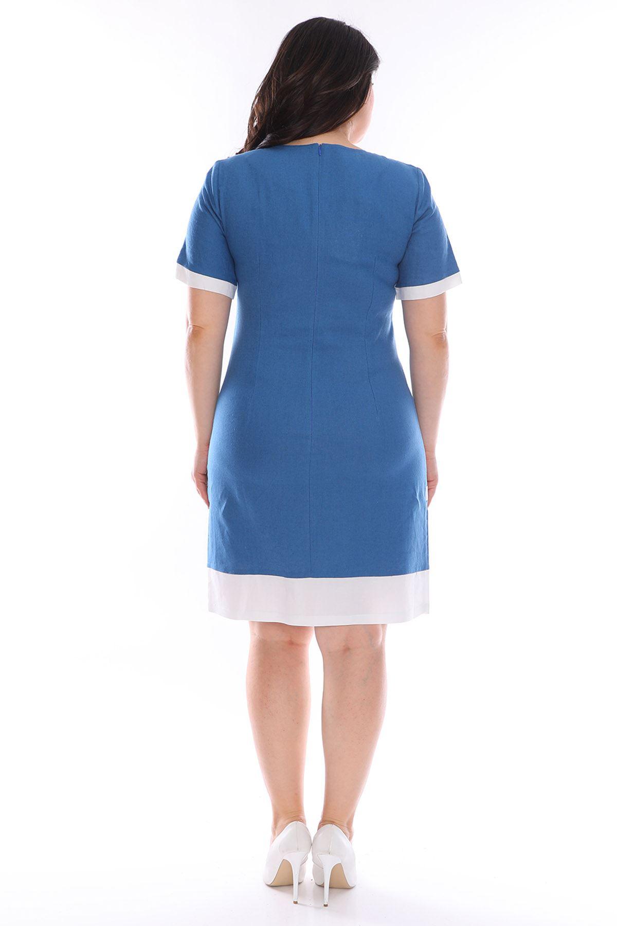 Mavi Beyaz Keten Elbise H3-0966