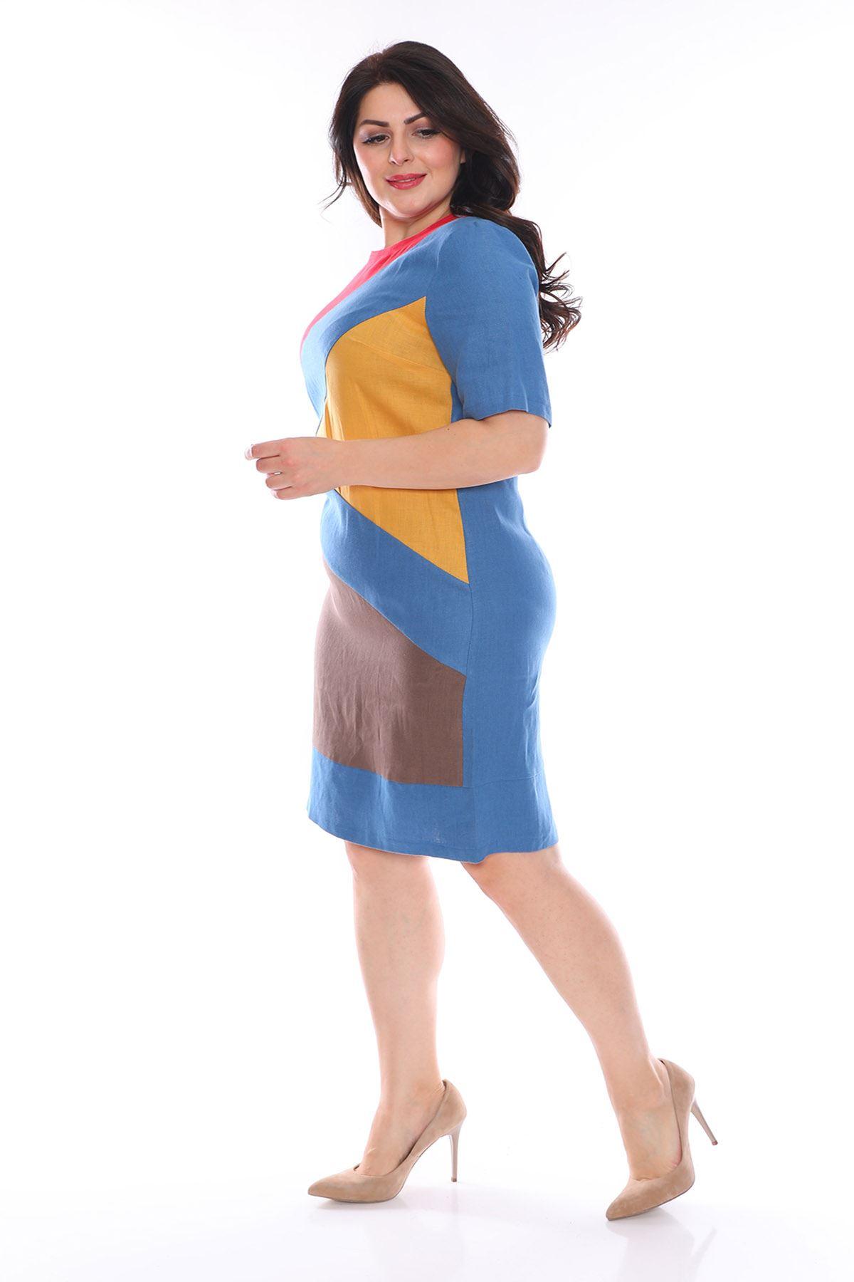 Mavi Zemin Keten Büyük Beden Elbise H3-0980