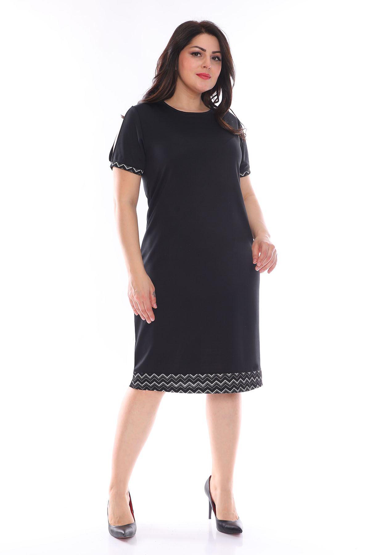 Garnili Siyah Büyük Beden Elbise 25A-0983