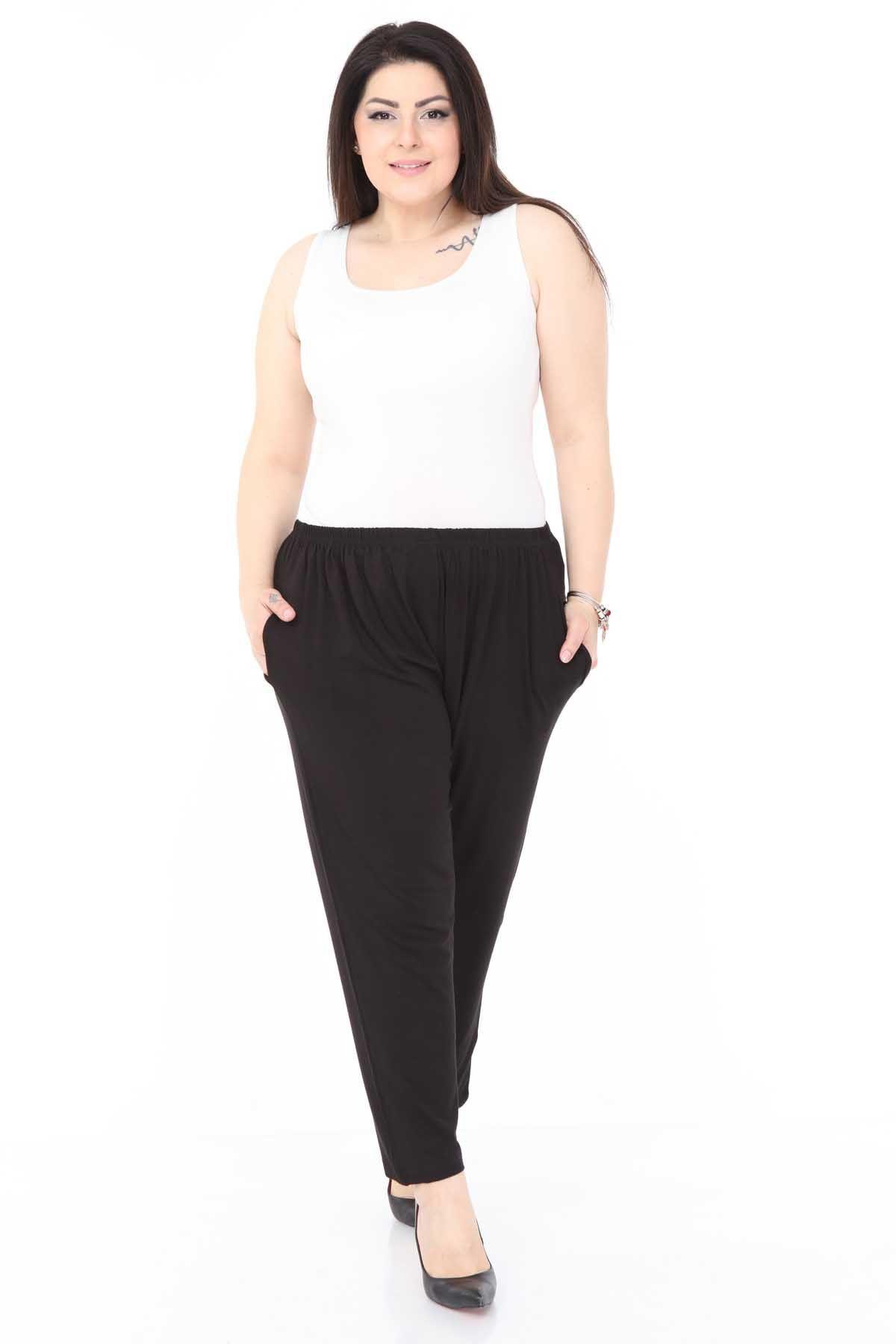 Siyah Esnek Büyük Beden Pantolon 12C-0986