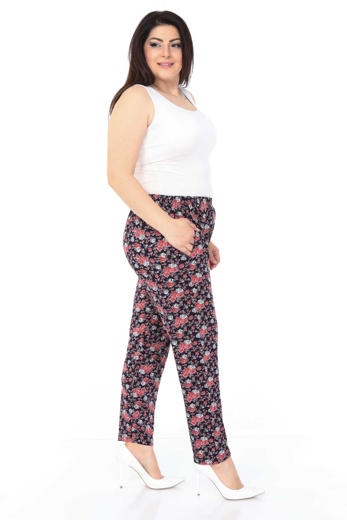Çiçekli Esnek Büyük Beden Pantolon 18B-0989