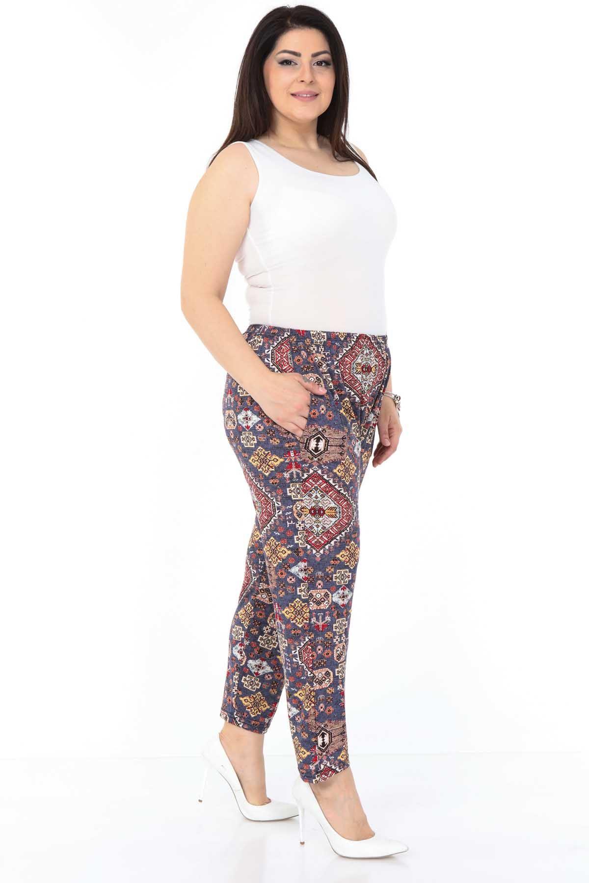 Kilim Desen Esnek Büyük Beden Pantolon 5D-0990