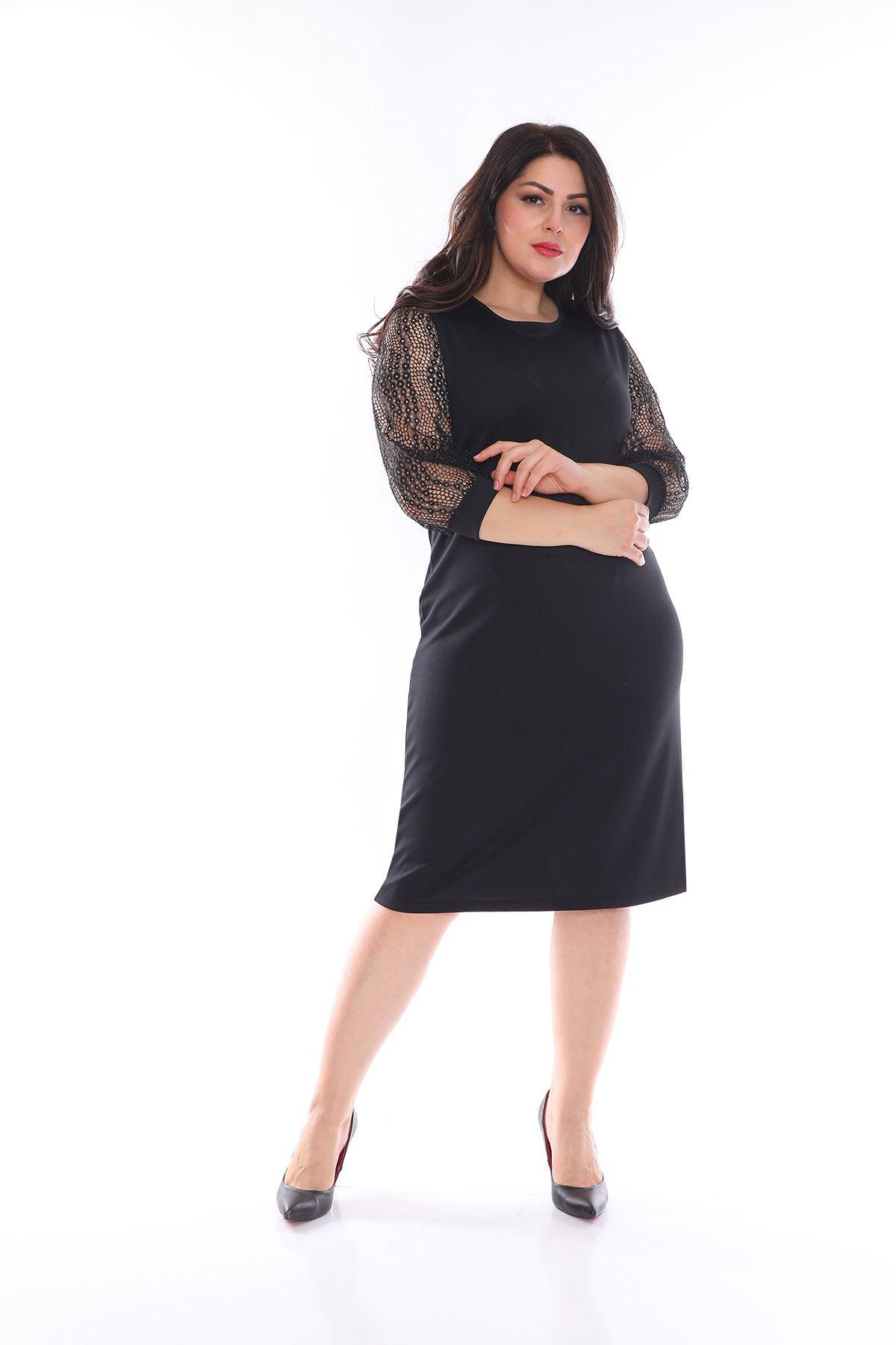 Halkalı Kol Büyük Beden Elbise 12D-0992