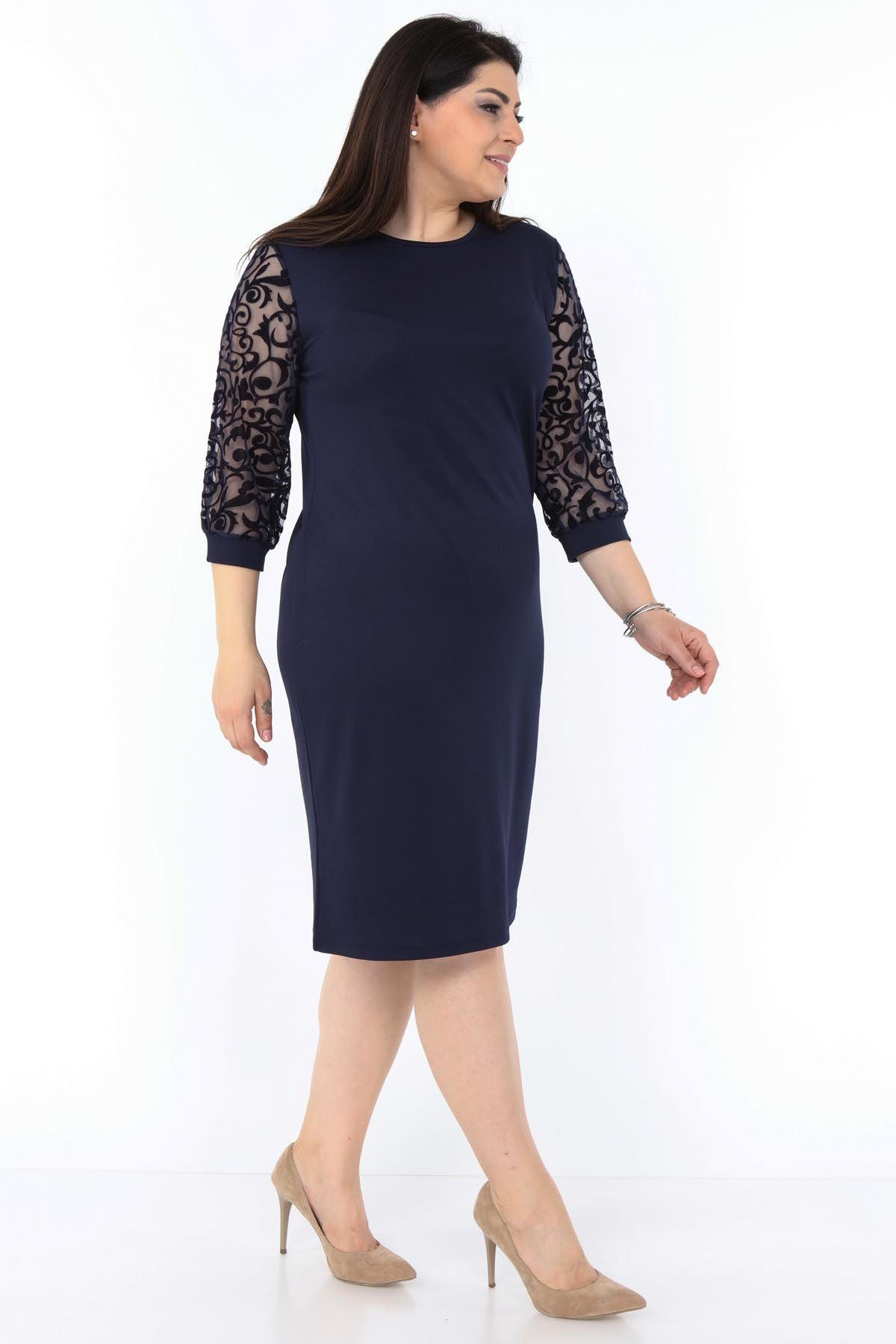 Lacivert Dantel Kol Büyük Beden Elbise 8A-0995