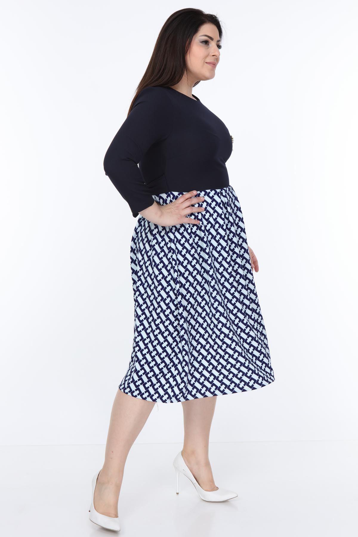 Lacivert Kloş Etekli Büyük Beden Elbise 12D-0993