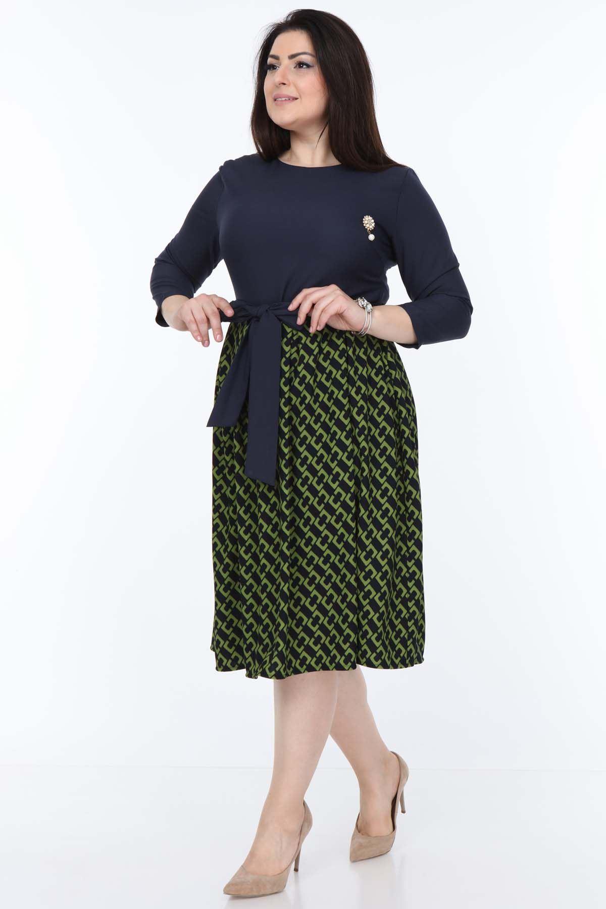 Yeşil Lacivert Büyük Beden Elbise 24E-0994