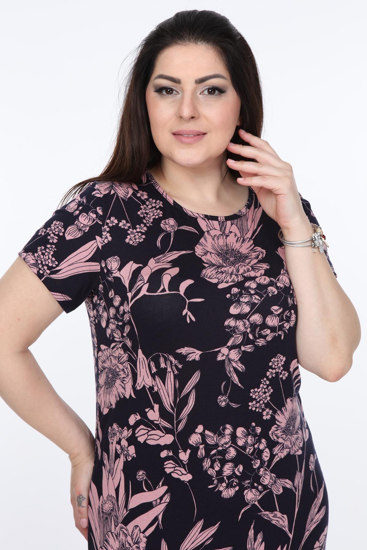 Esnek Kadın Büyük Beden Elbise 30A-0996