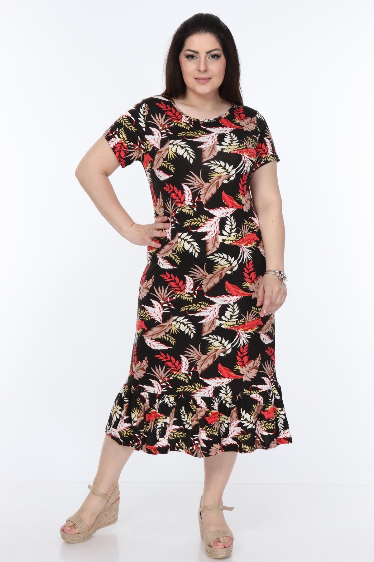 Kısakol Uzun Büyük Beden Elbise 10D-1010