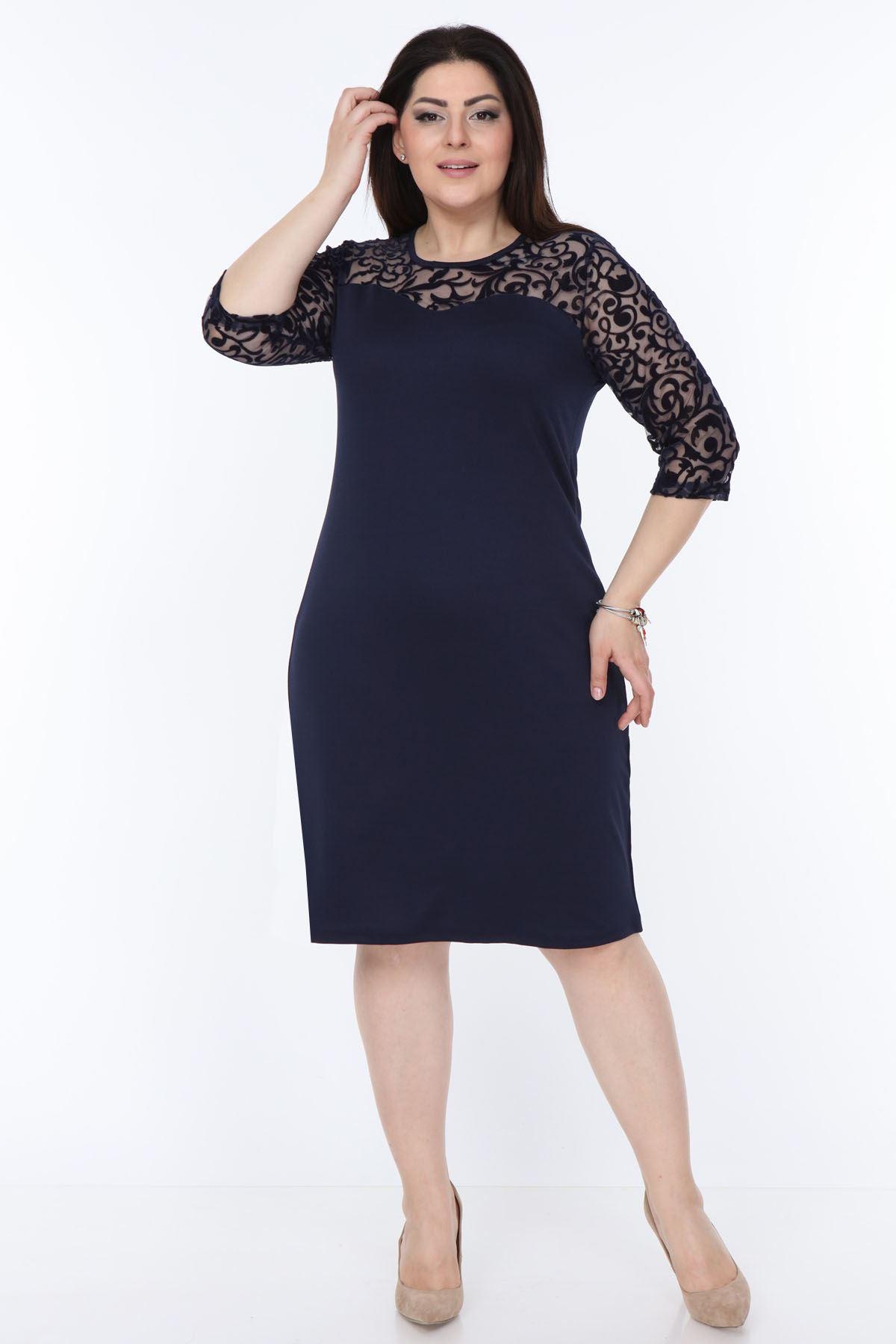 Lacivert Floklu Büyük Beden Elbise 2B-1032