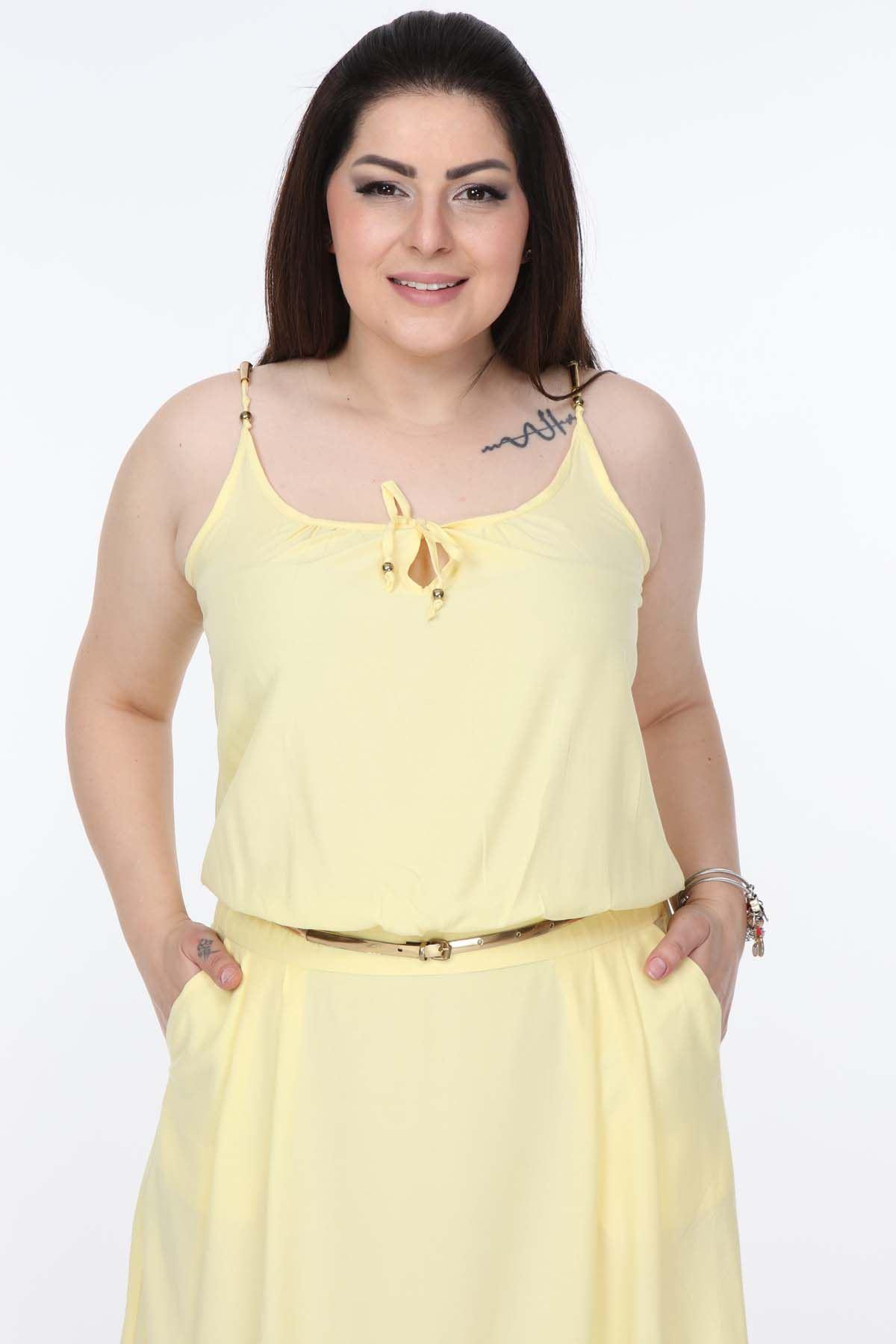 Askılı Sarı Elbise 1C-1005