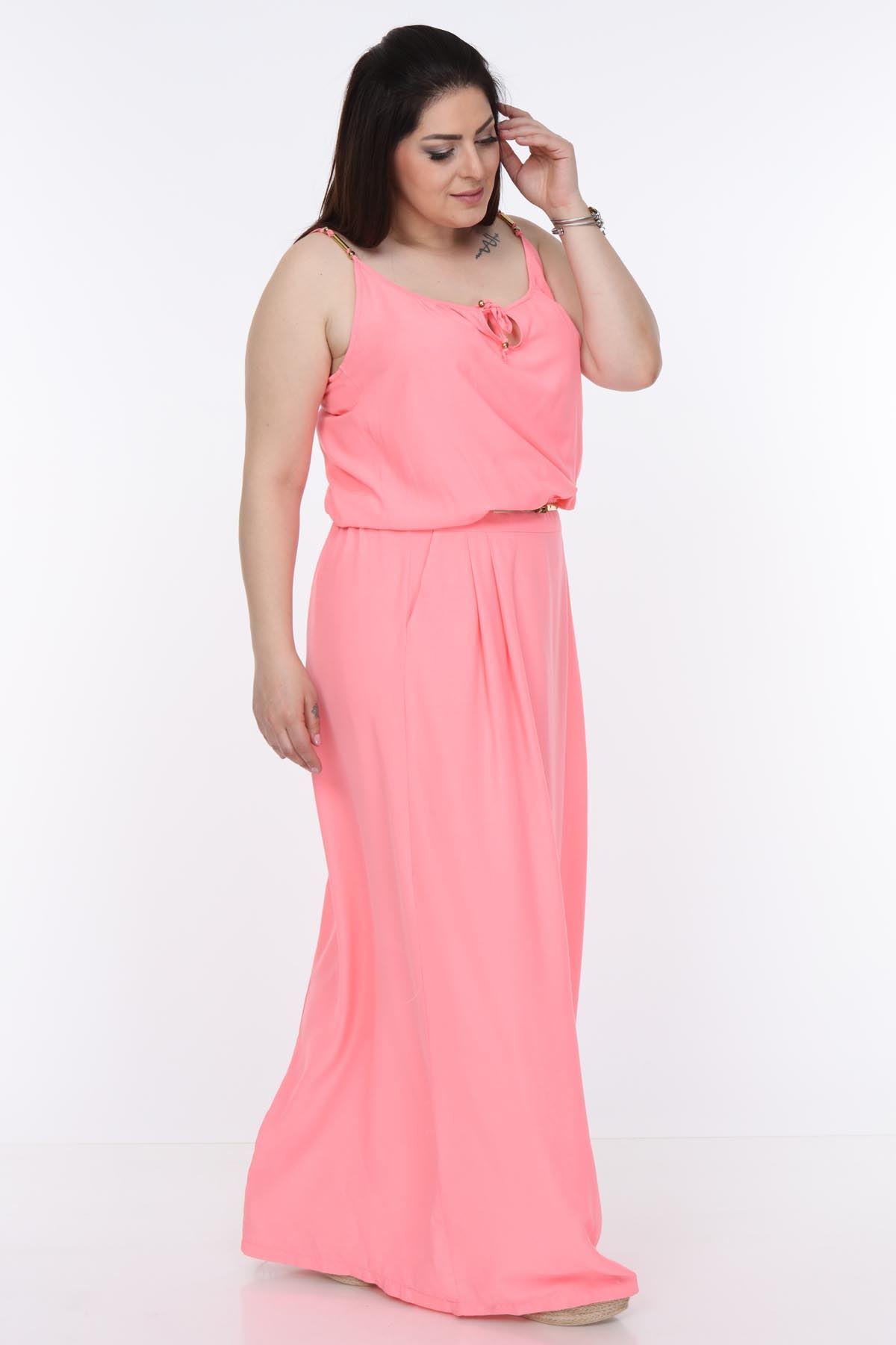 Pembe Uzun Büyük Beden Elbise 25C-1008