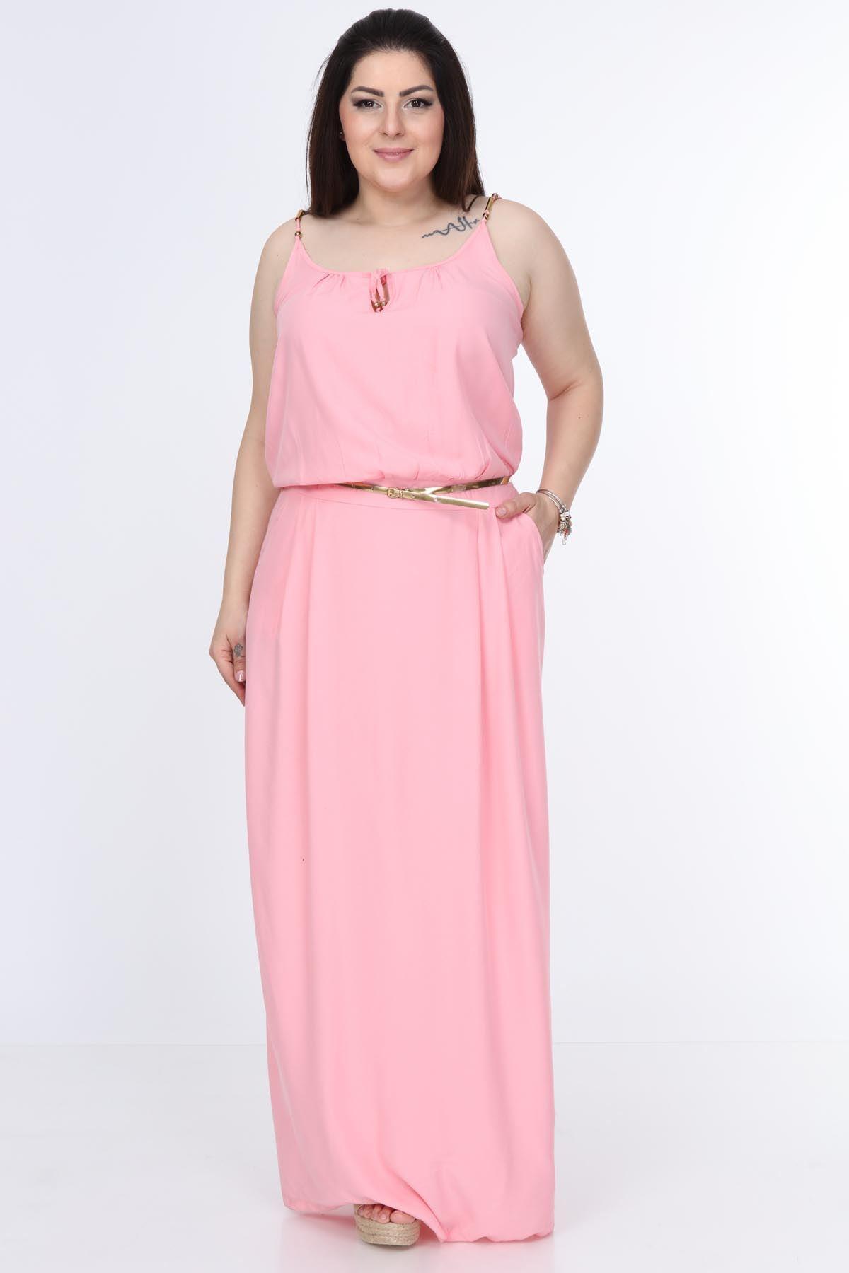 Askılı Uzun Büyük Beden Elbise 20Y-0997