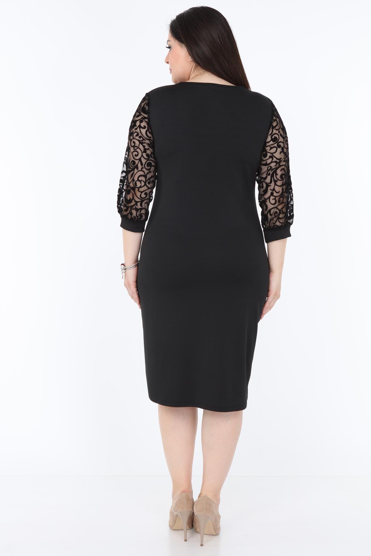 Siyah Dantel Kol Büyük Beden Elbise 2A-1035