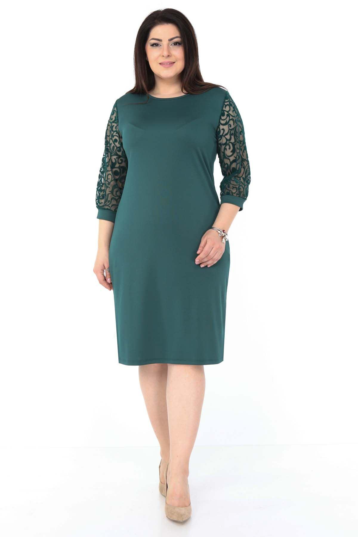 Yeşil Flok Kol Büyük Beden Elbise 5F-1047
