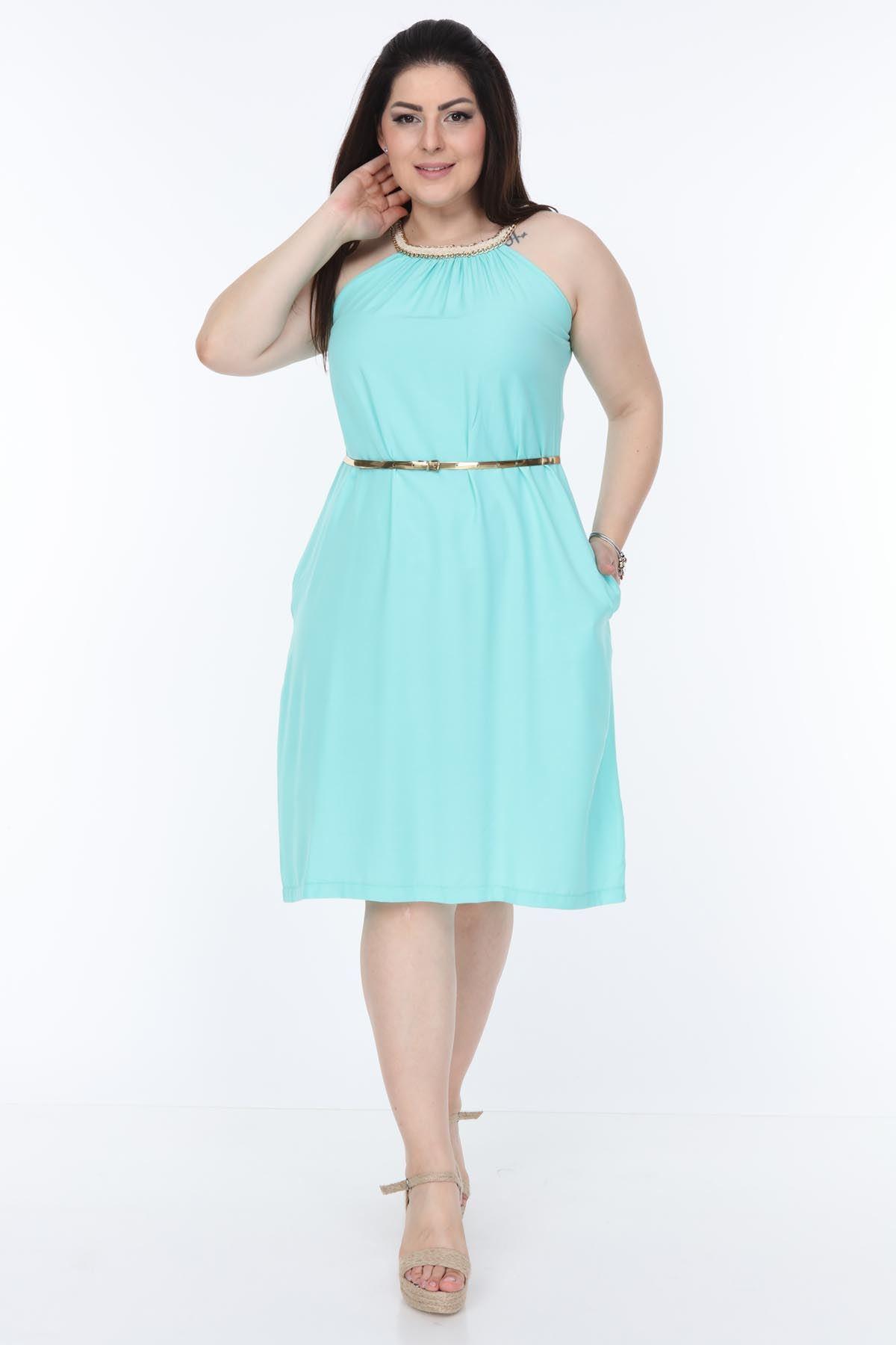 Yaka Detaylı Mint Elbise 21D-1056