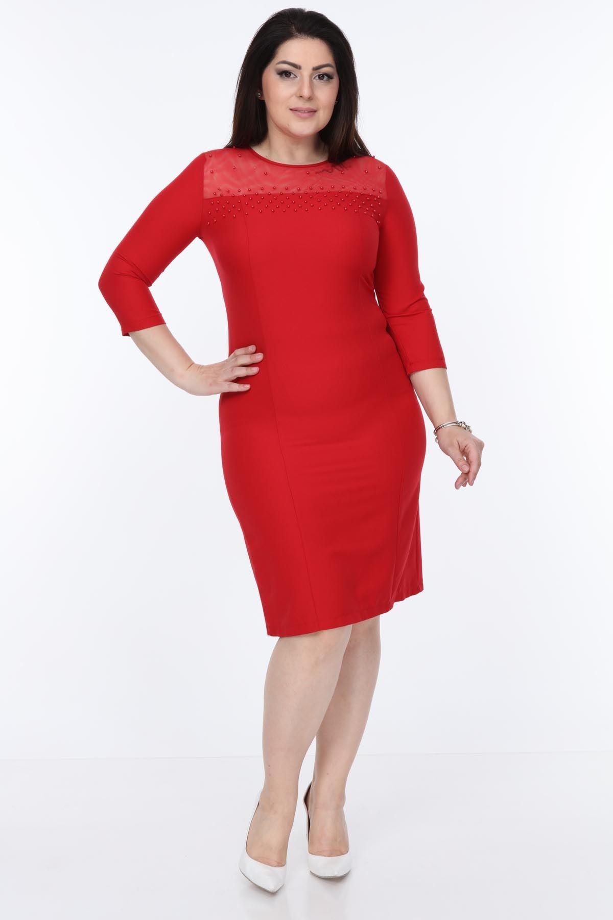 Kırmızı İncili Elbise 4C-1053